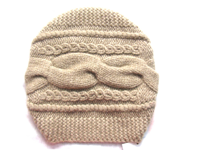 100%Cashmere Big Cable Hat Hand Knit