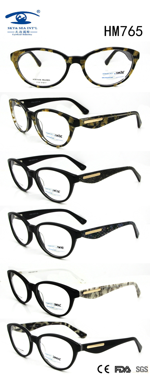 New Fashion Popular Customized Logo Acetate Eyewear (HM765)