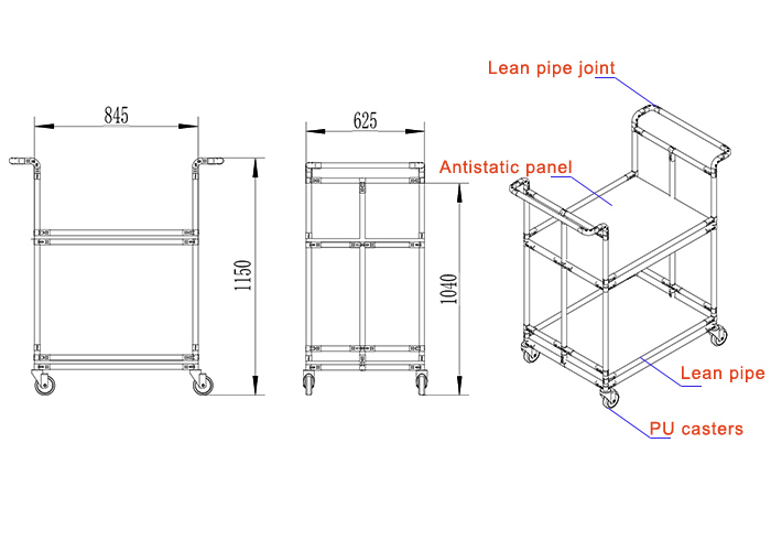 Lean Trolley with Caster for Factory