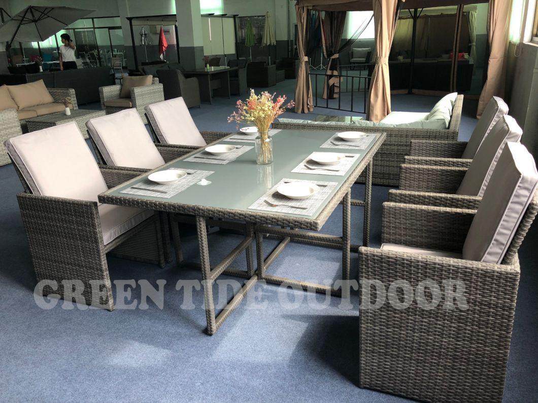 Garden Patio Outdoor Home Furniture Rattan Wicker Cube Dining Sofa Set 7PCS