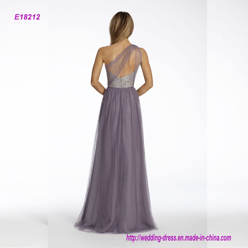 One Shoulder A-Line Bridesmaid Dress with Silver Metallic Lace Bodice