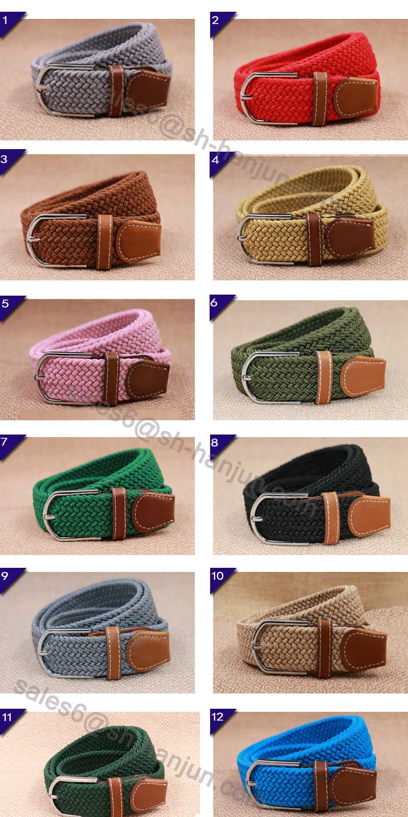 Bright Color New Fashion Polyester Braided Sretch Belt for Unisex