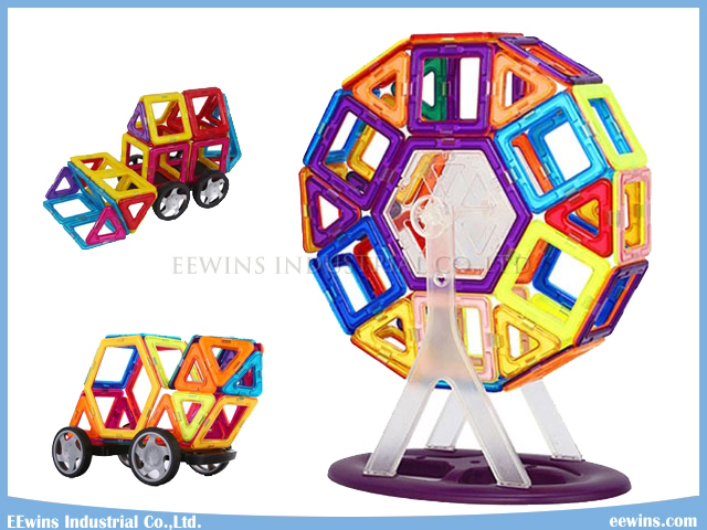 72PCS with Wheels Magnetic Puzzle Toys Wisdom DIY Educational Toys for Children