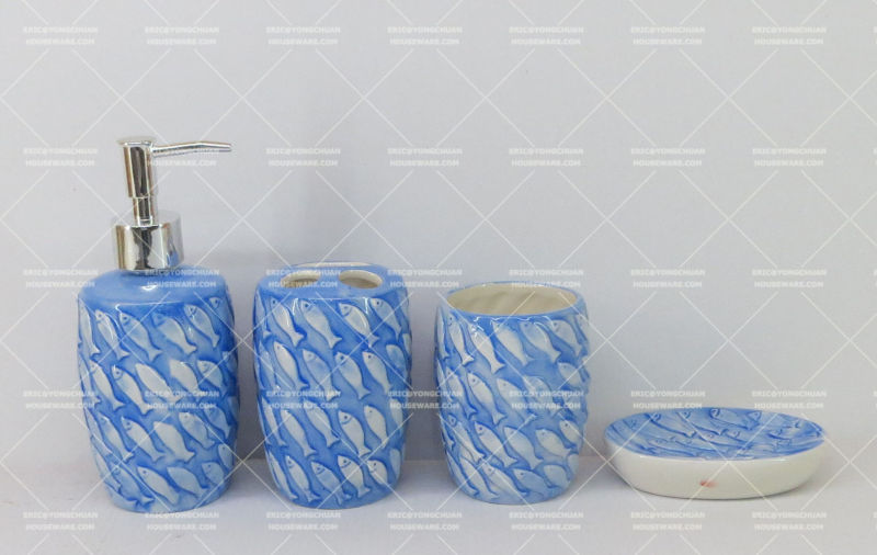Fish Embossed Bathroom Set for Wholesale