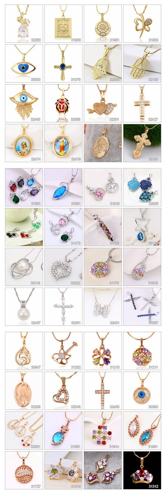 32702 Fashion Elegant Crystal Jewelry Chain Pendant in Rhodium Color