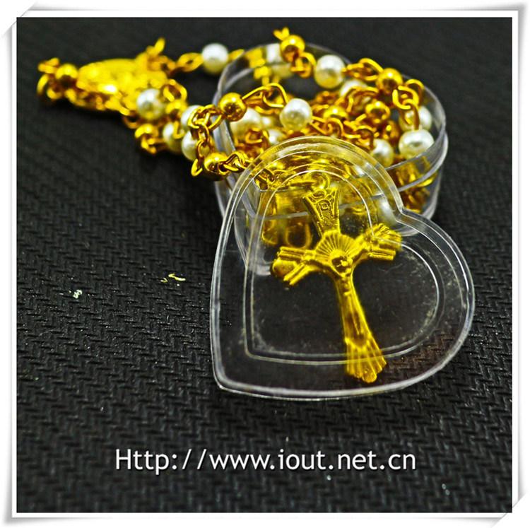Religious Metal Packing Box, Round Box, Catholic Box, Rosary Box (IO-p032)