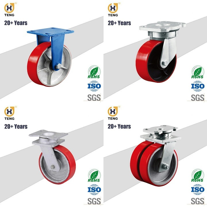 Heavy Duty PU on Cast Iron Core Caster Wheel, 6 Inch 8 Inch 10 Inch