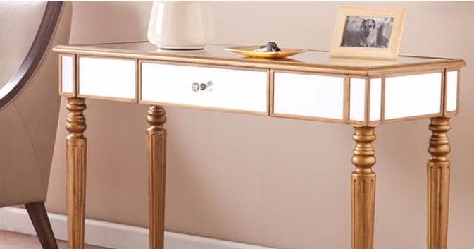 Antique Elegant Golden Luxury Rectangle Silver Mirror Coffee Table