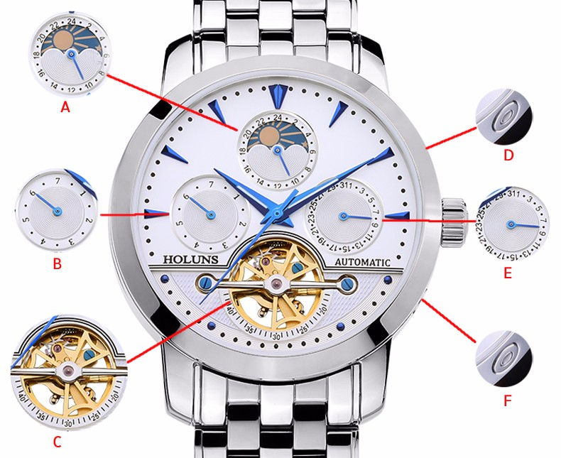 Luxury Watch Men Moon Phase Sapphire Waterproof Date Silver Stainless Steel Automatic Machine Watch Relogio Masculine