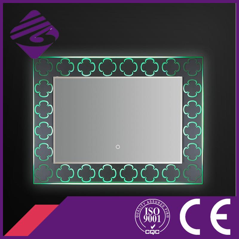 2016 Design Rectangle LED Backlit Bathroom Mirror with Crystal Base