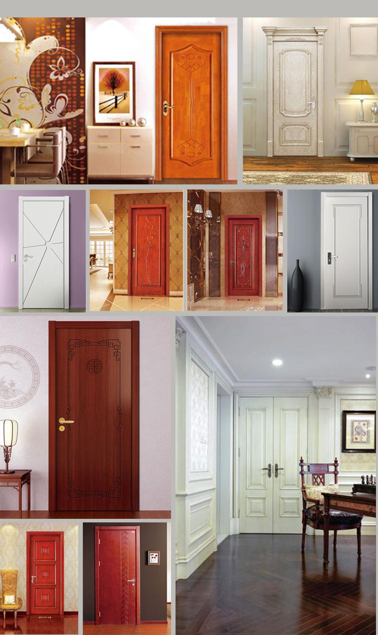 Swing Hollow Core Wood Veneer Interior Three Panel Door for Project