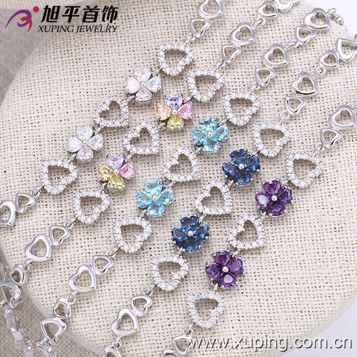 72803 Fashion Elegant Heart-Shaped CZ Diamond Imitation Jewelry Bracelet for Women