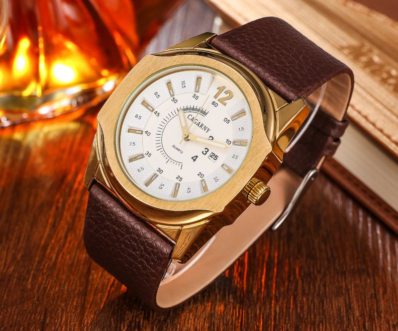 IP Gold Plated Mens Big Case Watch
