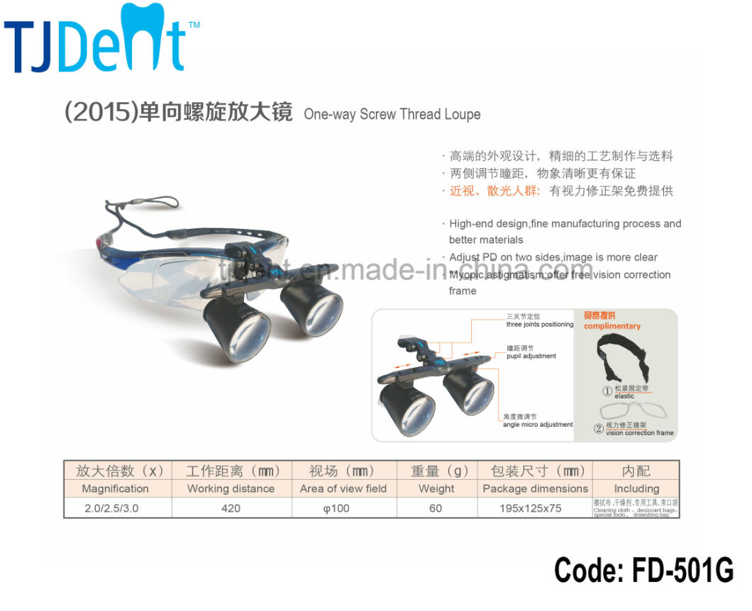 Pupil Distance Vision Correction Frame Comfortable Dental Loupe (FD-501G)