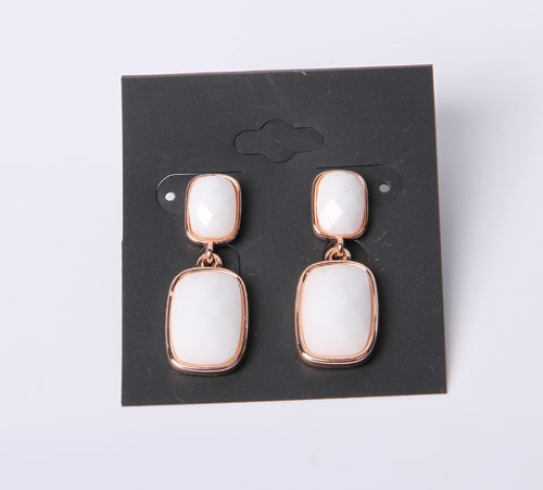 Simple Style Earrings with Rhodium Plated