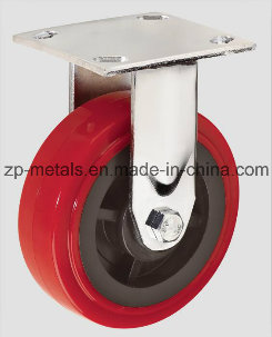4inch Heavy-Duty Red PU Fixed Caster Wheel
