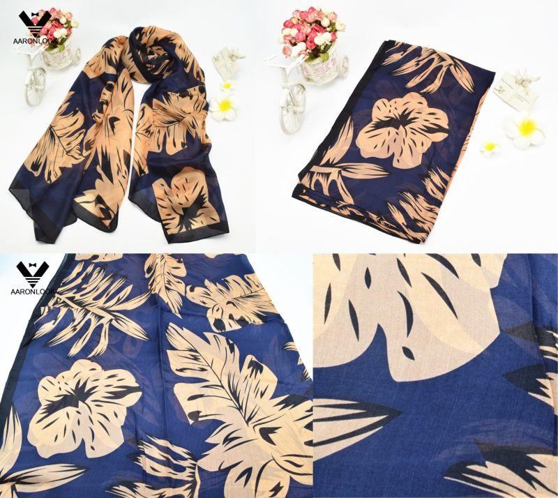 Women's High Fashion No MOQ Retail Leaf Print Silk Fabric Scarf
