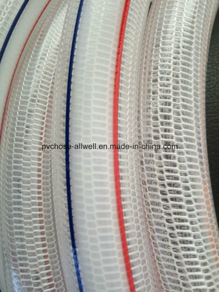 PVC Plastic Knitted Braided Fiber Transparent Reinforced Tube Pipe Hose for Water Garden Irrigation 1