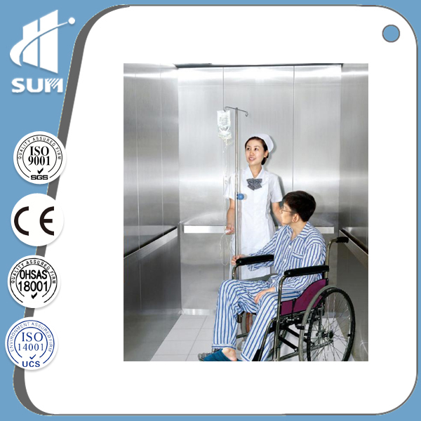 Mirror Stainless Steel Speed 1.0-2.0m/S Hospital Lift