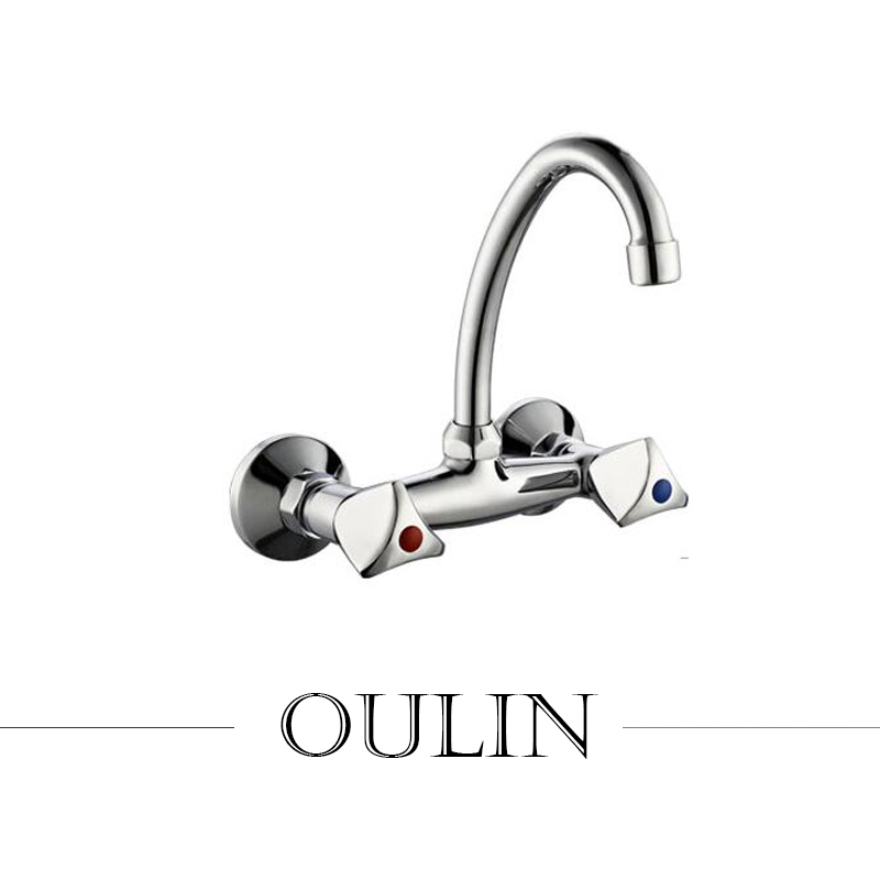 Double Hole High Neck Kitchen Sink Faucet Mixer