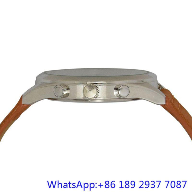 Top-Quality Alloy Quartz Men's Watch Leather Band Blue Dial Japan Chronograph (15172)