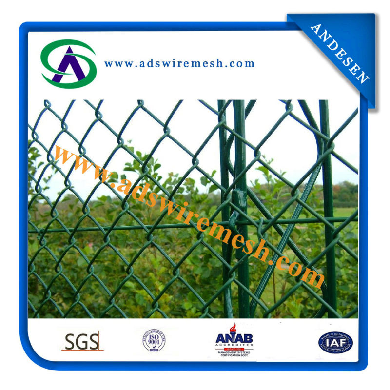 Factory Sale PVC Coated Chain Link Fabric Fence, Galvanized Chain Link Fence