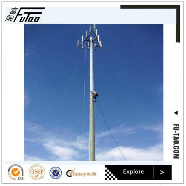 FT High Quality 30m Galvanized Telecommunication Steel Pole Tower