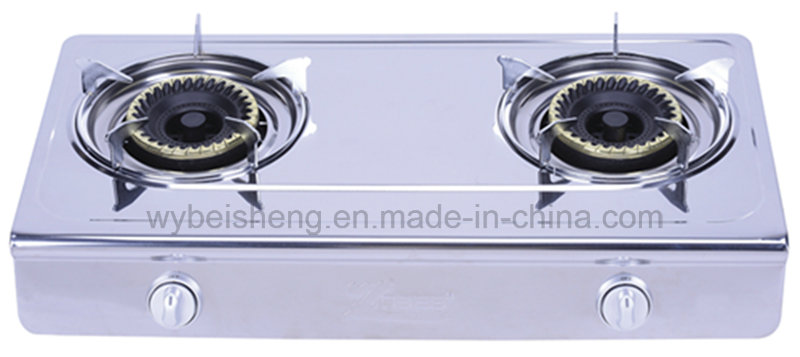 Stainless Steel Gas Burner, Two Burners, Big Blue Fire