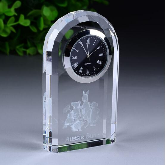 Customized Logo Business Gift Decoration Crystal Clock