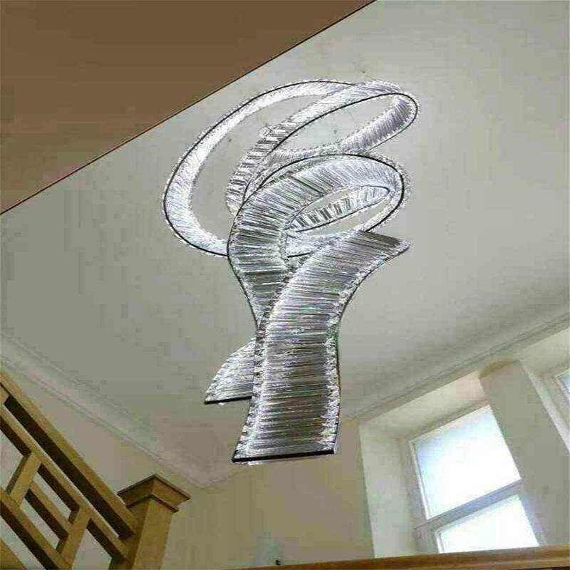 European White Spiral Framework Stainless Steel Crystal Pendant Lamp