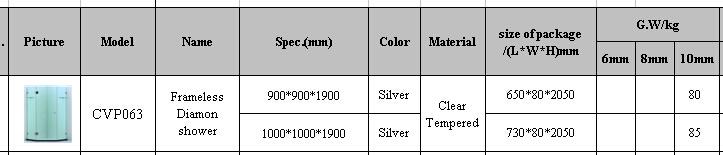 Frameless Diamond Shower Enclosure with Ce/SGCC/CCC (A-CVP063)
