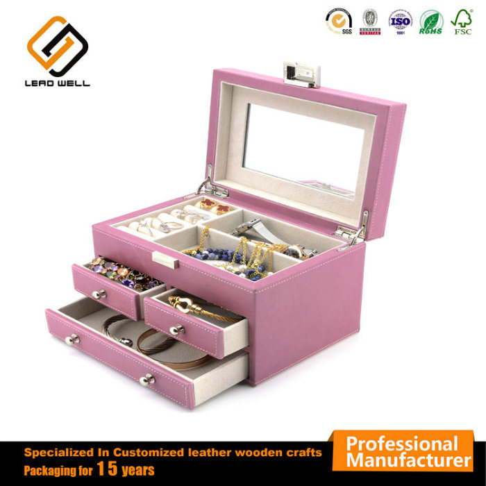 Mirror Jewelry Case Drawer Portable Gift Case for Female