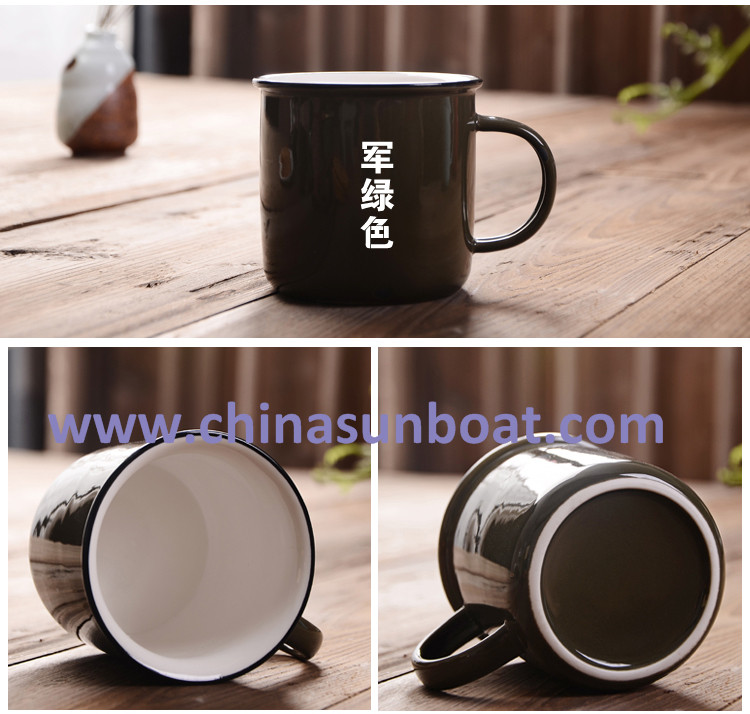 Sunboat 300ml Porcelain Cup Chinese Culture Mug Creative Retro Enamel Mugs Tableware