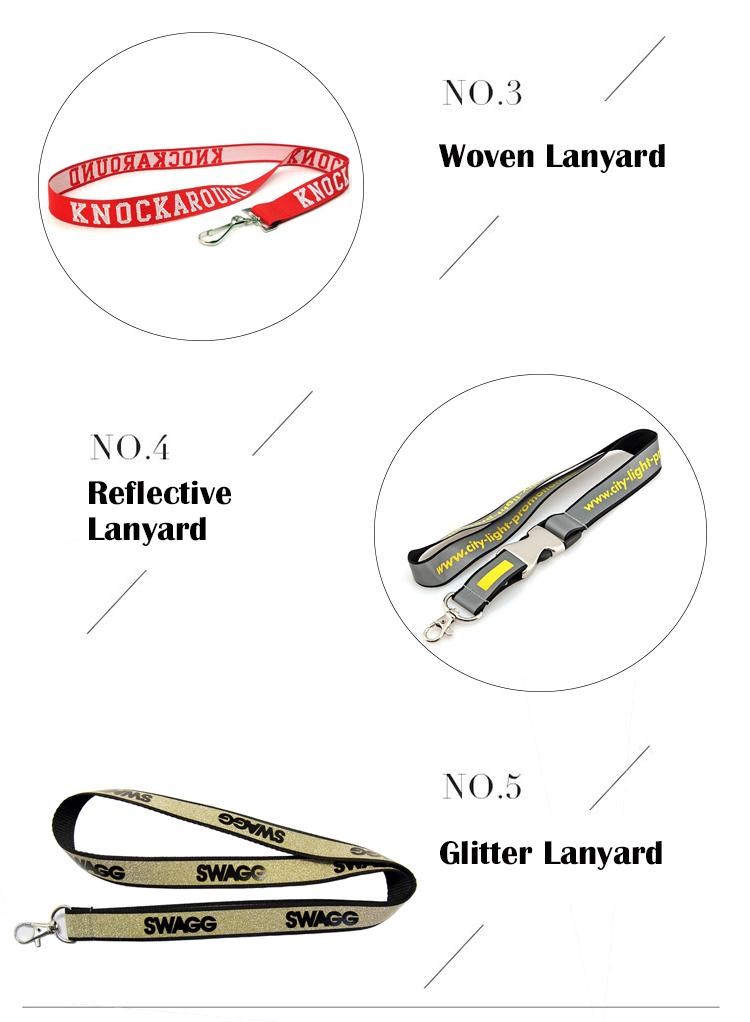 fashion Hot Sale Blink Polyester Custom Glitter Lanyard