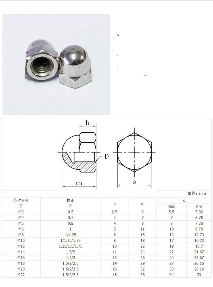 Stainless-Steel 304 Hex Cap Self-Locking Nuts