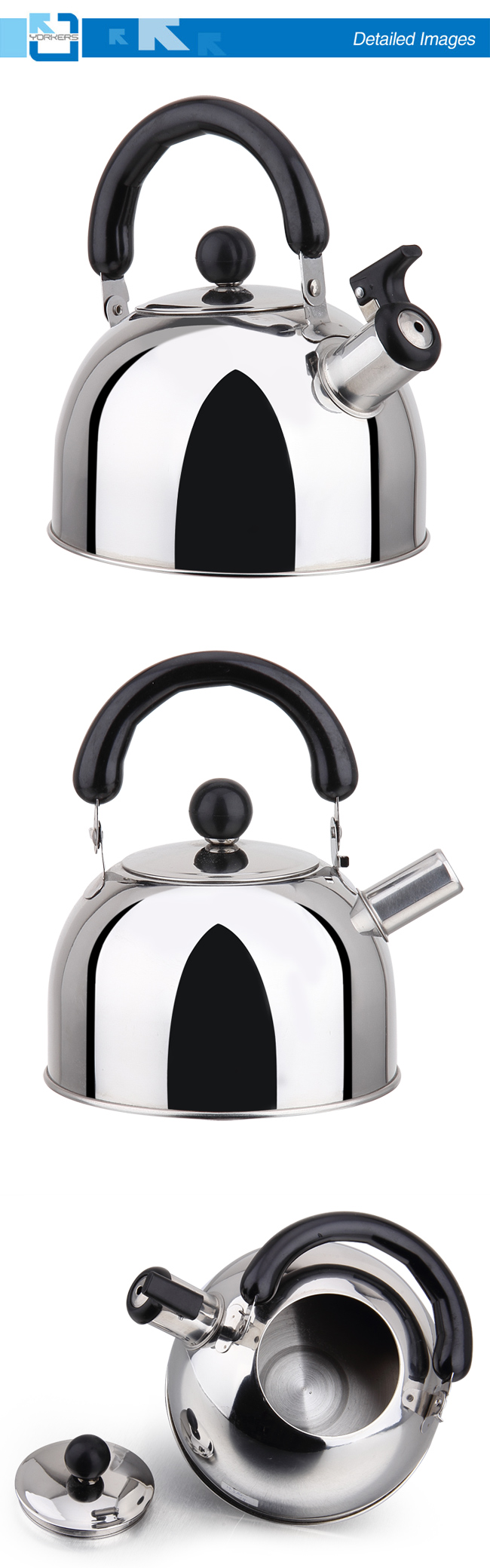 Flat Bottom Tyle Stainless Steel Whistling Kettle and Water Kettle