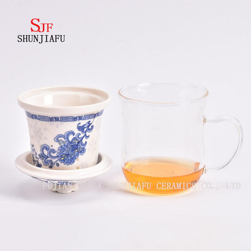 400ml Creative Gifts Double Wall Glass Tea Strainer Coffee Tumbler, Glass Tea Cups with Lid