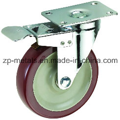 3inch Medium Sized Biaxial Bordeaux PVC Caster Wheels with Brake