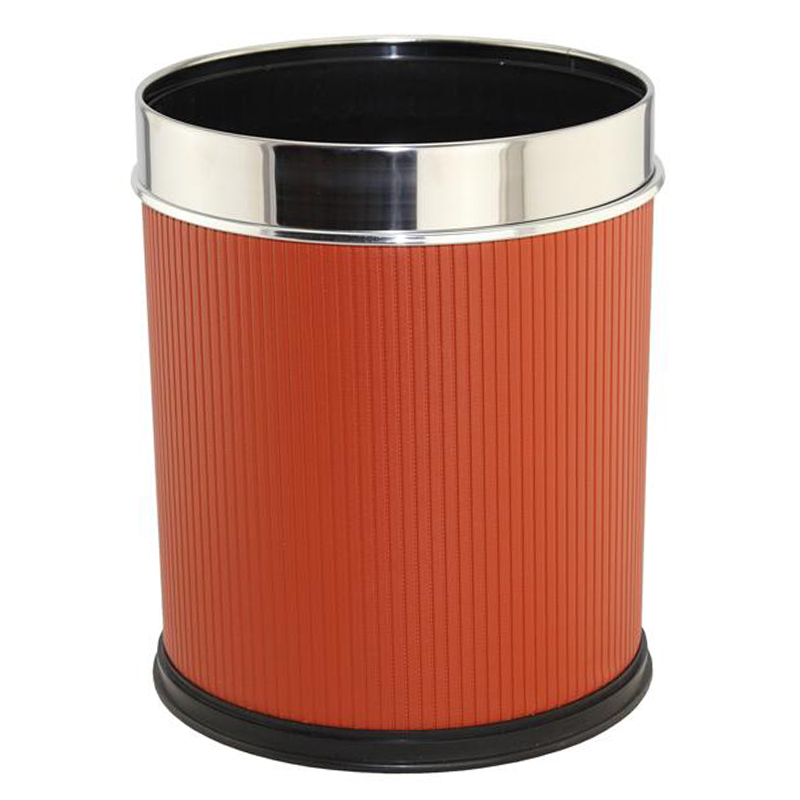 Fashion Leatherette Stainless Steel Top Rim Waste Bin