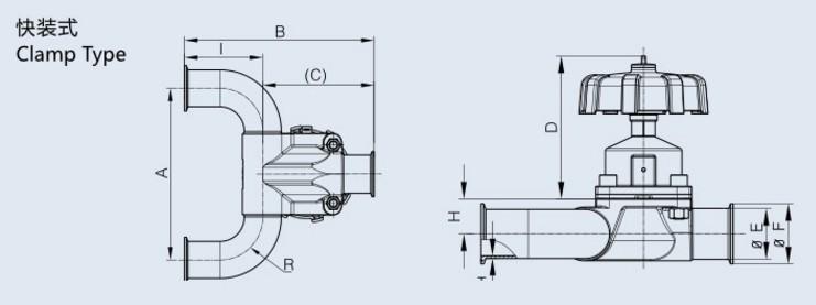Stainless Steel U-Type Three-Way Diaphragm Valve