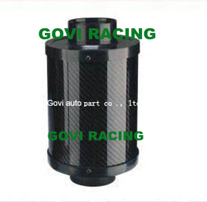 3in Real Carbon Air Filter with Plastic Flexible Pipe 76mm Rubber Reuducer Universal