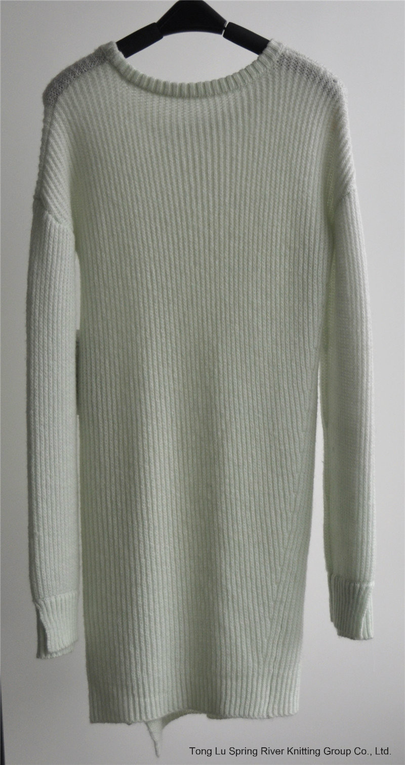 Round Neck Pure Color Pullover Knitted Sweater for Ladies