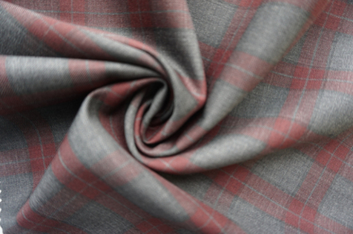 Wool Fabric for Suit with Red Check