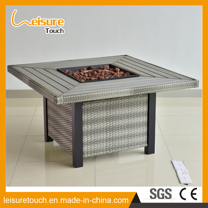Hot Sale Modern Outdoor Square BBQ Fire Pit Wicker Table for Patio Garden Aluminum Table Furniture
