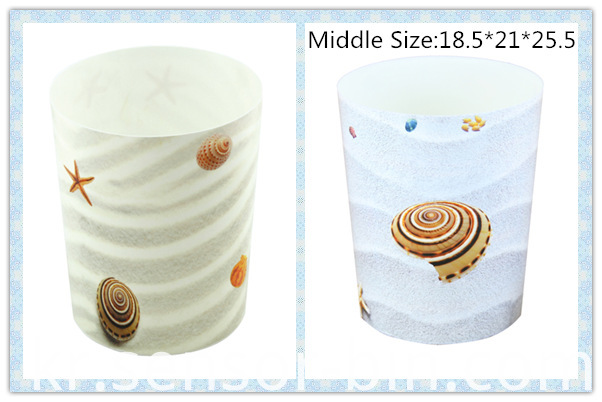 Sea Shells Design Round Plastic Waste Bin (FF-5224)