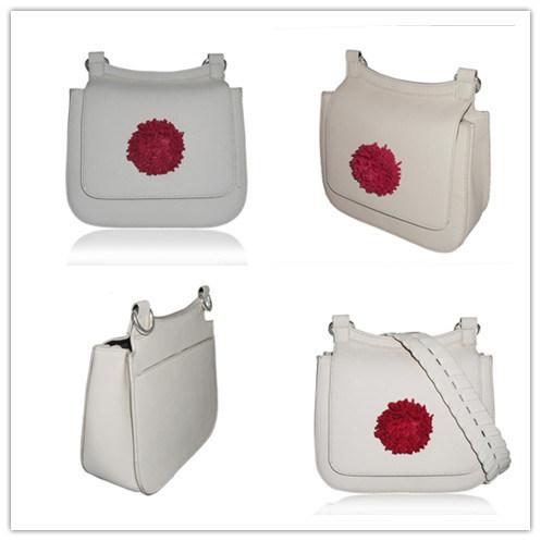 Fashion Lady Flower Cow Leather Handbag