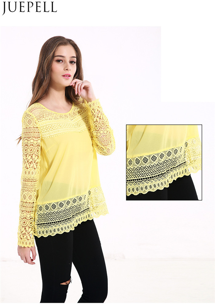Europe 2016 New Round Neck Long-Sleeved Lace Shirt Big Yards Loose Openwork Crochet Lace Stitching T-Shirt Women Summer Blouse