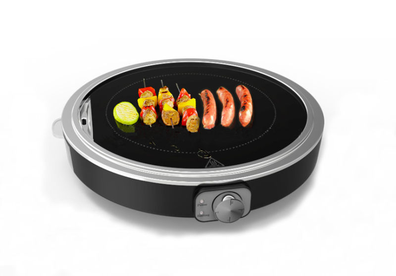 Electric Glass Plate Round Electric Grill