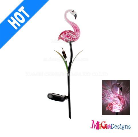 Wholesale Glass Flamingo Solar Powered Garden Lights Stake