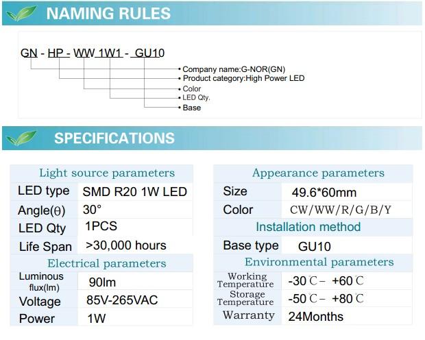LED Spotlight Bulb (GN-HP-WW1W1-GU10)